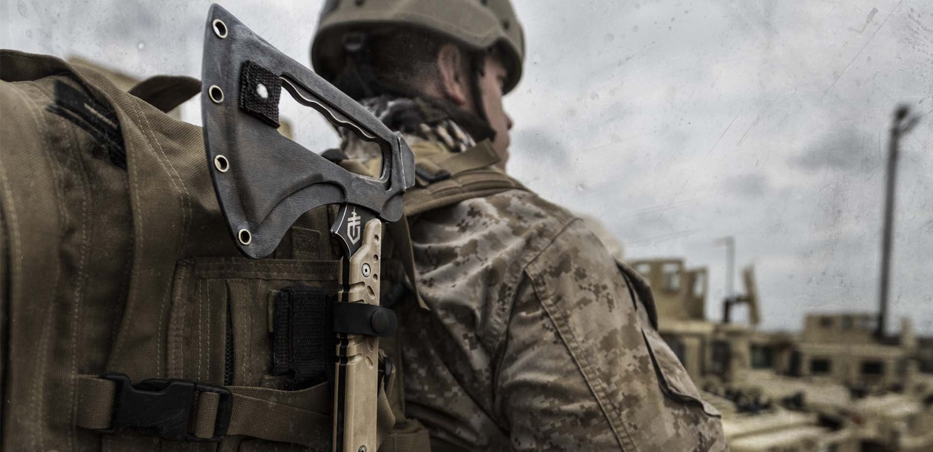 army man carrying a tomahawk